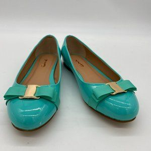 XYD Blue Round Toe Block Flats Low Heel Bowknot